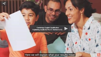 Kid showing to his mother and father his progress report