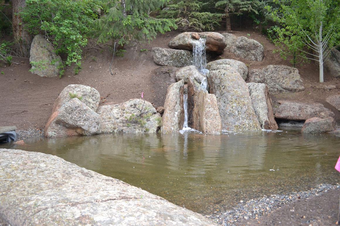 A garden waterfall