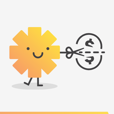 sun character cutting dollar