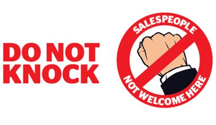 Sample of 'Do not knock - salespeople not welcome here' sticker
