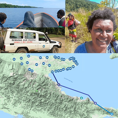 Map of wards from Makamakka LLG, image of Martha Wame hiking, Martha on a boat taxi and a car