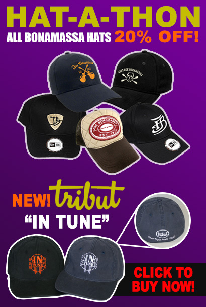 Hat-A-Thon! All JB hats 20% off for 1 week only! New Tribut In Tune and JB Silhouette caps. Buy now.