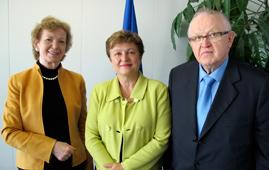 Mary Robinson, Kristalina Georgieva, Martti Ahtisaari in Brussels, Belgium
